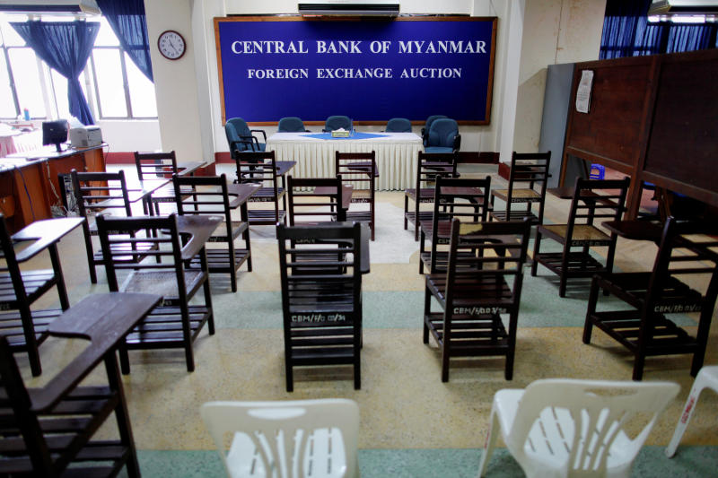 Chairs are lined up for the morning meeting at a room for daily foreign exchange auctions at the Central Bank of Myanmar in Yangon. (Reuters photo)