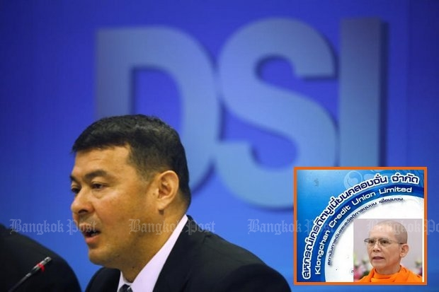 Department of Special Investigations (DSI) chief Paisit Wongmuang revealed a bribery scandal involving two of his top investigators in the case involving the credit union embezzlement and Dhammakaya sect founder Phra Dhammajayo. (Bangkok Post file photos)