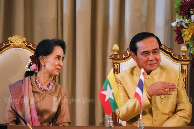 Myanmar leader Aung San Suu Kyi, seen here during her official visit in June, continues her silence on atrocities in Rakhine state. (File photo)
