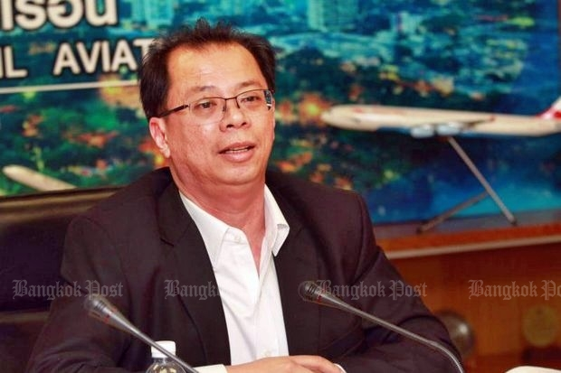 Chula Sukmanop, head of the Civil Aviation Authority of Thailand (CAAT) says the government's jihad on zero-dollar tours by Chinese has caused a crisis for three airlines he did not name. (File photo by Somchai Poomlard)