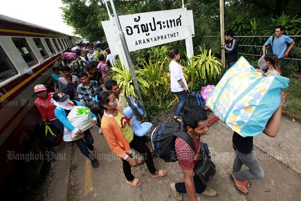 Aranyaprathet train station in Sa Kaeo province is the gateway for Cambodian people to go back to their country. (Bangkok Post file photo)