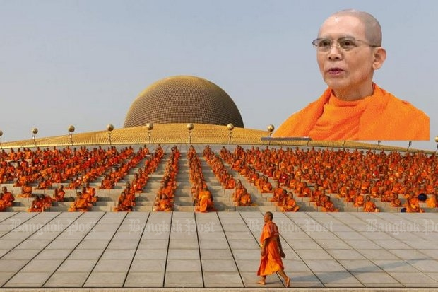 Police believe Dhammakaya sect founder Phra Dhammajayo is still in Thailand, but are trying to locate him so they can slap on cuffs if an arrest warrant ever is issued. (File photos)