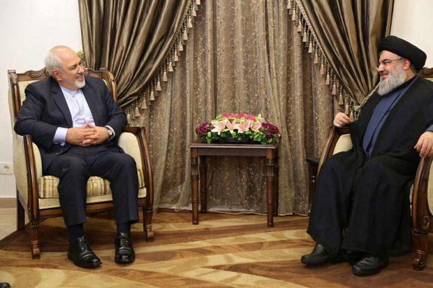 Iranian Foreign Minister Javad Zarif (left) meets Sayyed Hassan Nasrallah, the secretary-general of Hezbollah, Iran's Lebanon partner. (EPA photo)