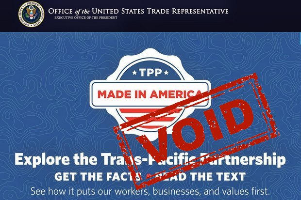 The website of the US Trade Representative still lauds the Trans Pacific Partnership (TPP), but now requires urgent updating.