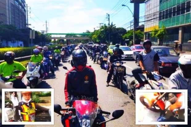 Motorcyclist members of Motorcyclist's Liberation facebook page gather to protest traffic police running over foot of fellow motorcyclist who only wanted an explanation of the ticket he received (Source: Post Today & Facebook video)
