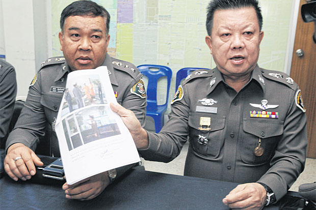 Giving shelter: Police show the complaint filed against Phra Thattacheevo. Photo: Apichit Jinakul