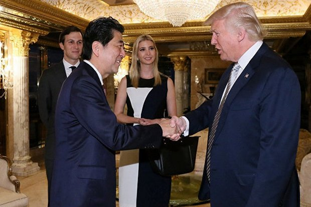 Prime Minister Shinzo Abe was the first foreign leader to meet Donald Trump after the US election, and things in Japan have been looking up for Mr Abe's government. (File photo)
