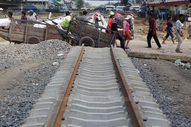 The construction of the rail track to Cambodia as seen in Sa Kaeo province, Thailand, in July 2014. (Bangkok Post file photo)
