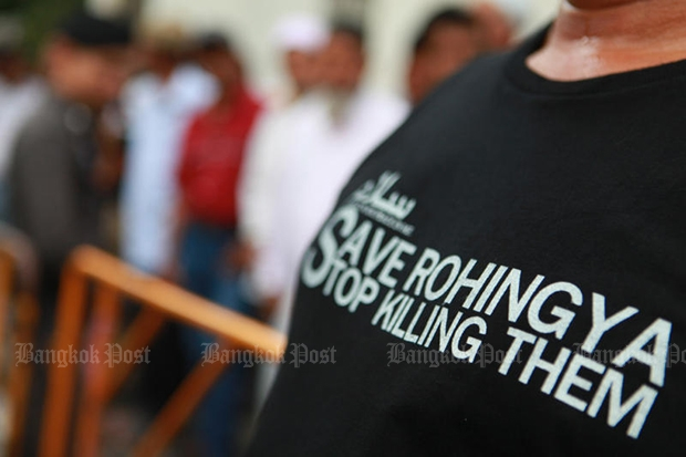 Protesters gather in front of the Myanmar embassy in Bangkok in November demanding the Myanmar government stop killing Rohingya people. (Bangkok Post file photo)