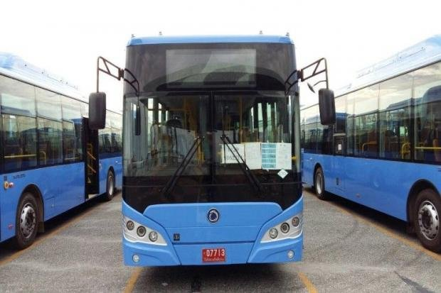 Bestlin Group says it has agreed to pay Customs fees and a fine for misstating the origin of the buses, which are at Laem Chabang port. (Photo courtesty Bestlin Group)