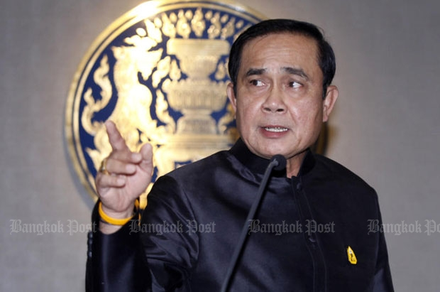 Prime Minister Prayut Chan-o-cha said getting rid of junk information, which slanders people on social media, was in order. (Bangkok Post file photo)