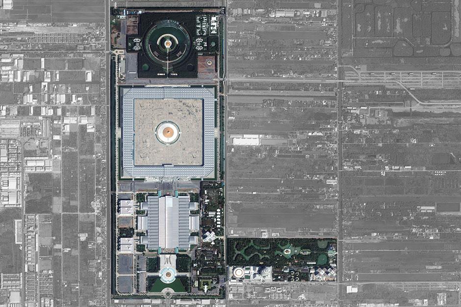 The high-resolution satellite image provided by DigitalGlobe on March 2, 2017, shows Wat Phra Dhammakaya in Pathum Thani. — DigitalGlobe via AP