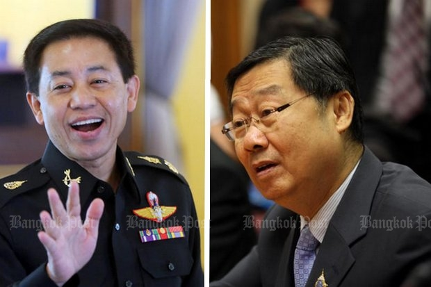 Lt Gen Sansern Kaewkamnerd (left), director of government information: There will an election in late 2017 for sure. Surachai Liangboonlertchai, vice-president, National Legislative Assembly: No, there won't. (File photos)