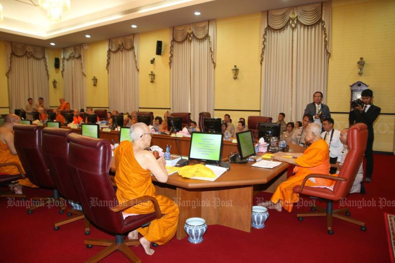 The Sangha Supreme Council meets in Nakhon Phathom province in January 2016. (Bangkok Post file photo)