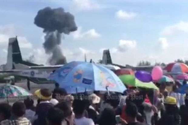 The Jas 39C Gripen fighter jet crashes during the air show at Wing 56 in Hat Yai, Songkhla, on Saturday.