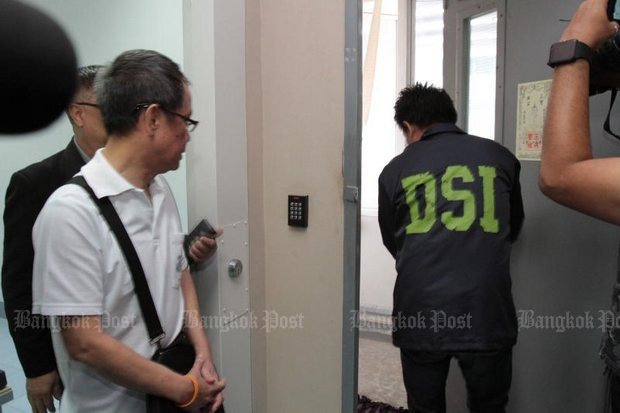 Thawatchai, 66, died mysteriously on Aug 29 last year in the infamous 'suicide by socks' case inside this DSI holding cell, leading to speculation about his death. (Bangkok Post file photo by Tawatchai Kemgumnerd)