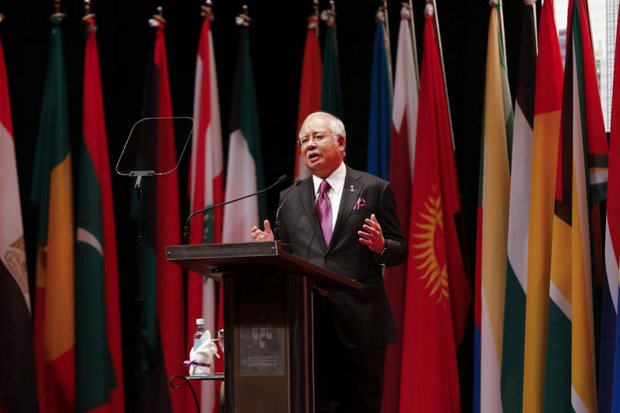 Malaysian Prime Minister Najib Razak addresses the Extraordinary Session of the Organisation of Islamic Cooperation (OIC) in Kuala Lumpur on Thursday. (Bernama photo)