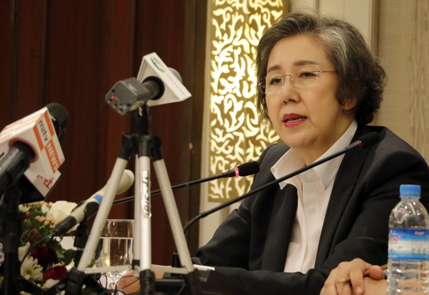 Yanghee Lee, the UN Human Rights Special Rapporteur to Myanmar, holds a media briefing in Yangon at the end of her latest 12-day visit to the country. (AP Photo)