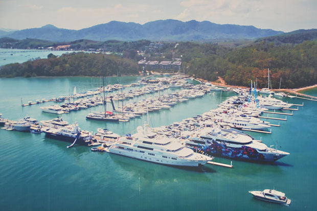 Yachts are anchored in Phuket which is promoted as a hub for maritime tourism in southern Thailand. (Photo by Achadtaya Chuenniran)