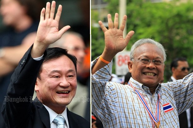 A confidante of ex-premier Thaksin Shinawatra and Suthep Thaugsuban strongly deny any involvement in Rolls-Royce bribery of purchase agents for state-owned Thai Airways International. (File photos)