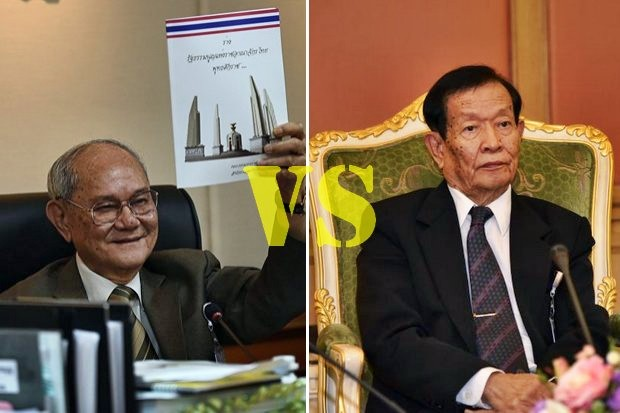 The spokesman for Meechai Ruchupan (left) and his Constitution Drafting Committee has strongly opposed efforts to pass a bill to regulate the press proposed by a committee under chairman Thinnaphan Nakhata (right) of the National Reform Steering Assembly (NRSA). (File photos)