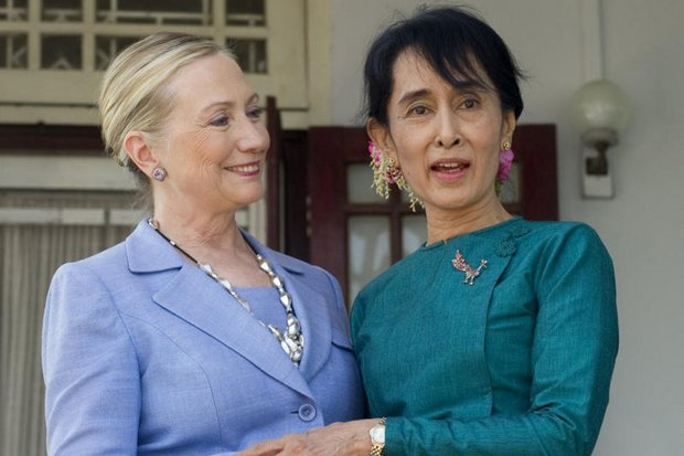 Hillary Clinton with Aung San Suu Kyi in December, 2011. One of these women is loved, but the jury is still debating whether the other is even likeable. (AP file photo)