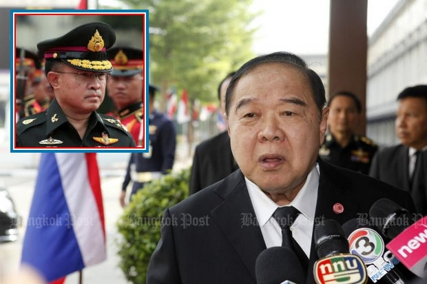 Army chief Chalermchai Sittisat (inset) says online death threats against Deputy Prime Minister and Defence Minister Prawit Wongsuwon could be a real assassination danger. (Bangkok Post file photos)