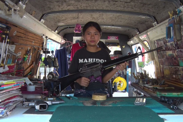 Stripping, cleaning and reassembling assault rifles and other kinds of firearms is a  hobby for Salisa
