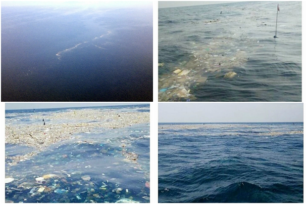 The trash monster first spotted by fisherman Noppadon Thintaeb off Chumphon has drifted on to Prachuap Khiri Khan. (Photos courtesy of the 1st Naval Area Command and Noppadon Thintaeb)