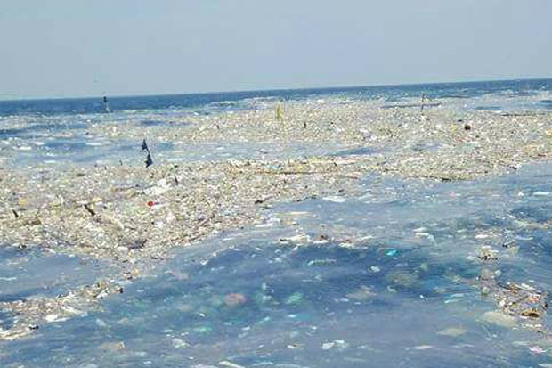 Part of the floating garbage patch in the Gulf of Thailand. Photo released on Wednesday by the Department of Marine and Coastal Resources