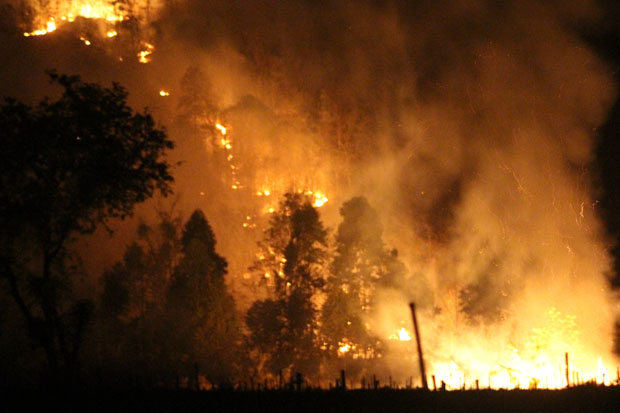 A fire breaks out in Khon Buri forest reserve in Nakhon Ratchasima early Sunday. As of Sunday morning, it had burned through forest cover from top to bottom of Khao Makha mountain. (Photo by Prasit Tangprasert)