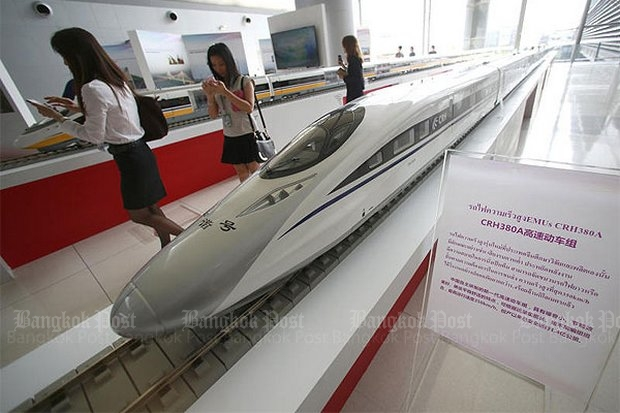 Several models of high-speed trains have been shown as likely for the Bangkok-Hua Hin railway, but plans for the route have been put on hold. (Bangkok Post file photo)