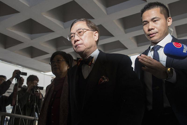 Former Hong Kong chief executive Donald Tsang Yam-kuen arrives at the High Court in Hong Kong on Feb 16, 2017. On Feb 17 Tsang, 72, was found guilty of misconduct in public office during his time as the city's leader and on Feb 22, was sentenced to 20 months in jail, media reported. (EPA photo)