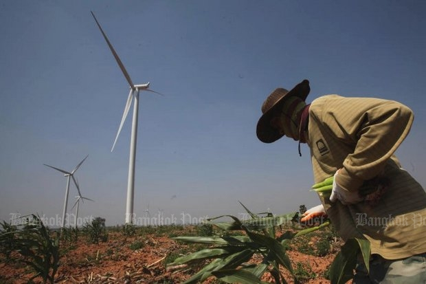 The Office of the Auditor-General (OAG) sees possible collusion and 'conflict of interest' between certain government and business interests over doling out farmland for wind-power projects. (Bangkok Post file photo)
