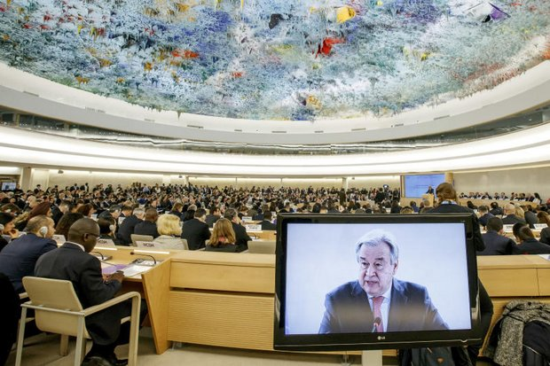 UN Secretary-General Antonio Guterres delivers his statement to open the 34th session of the Human Rights Council at the European headquarters of the United Nations in Geneva. (AP photo)