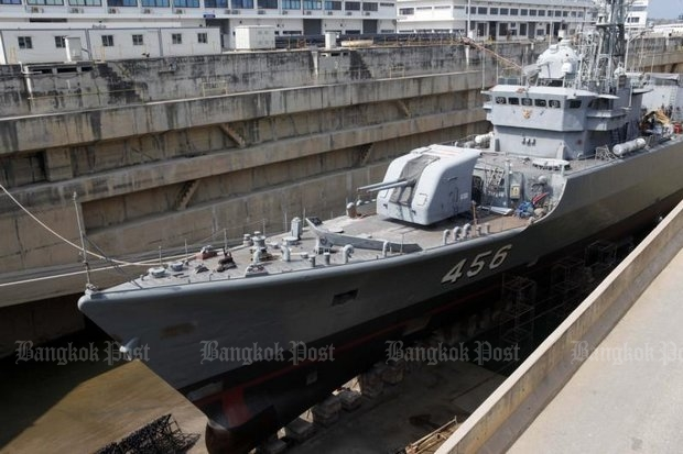 The Chinese-made HTMS Bangpakong is about to re-enter service after a refit shown to the media Monday at the Mahidol Adulyadej Naval Dockyard in Sattahip district, Chon Buri. (Photo by Apichart Jinakul)