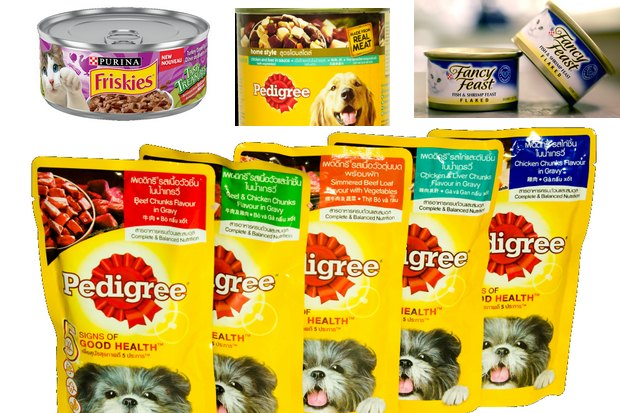 Pedigree by Mars and Purina by Nestle are two of the world's biggest-selling pet foods.