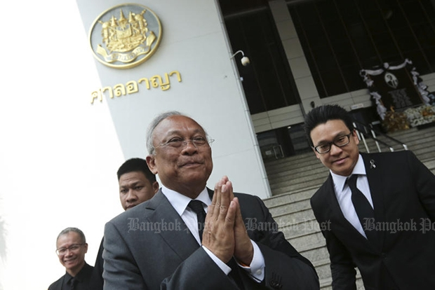 Suthep Thaugsuban at the Criminal Court for the defamation judgement on Tuesday. (Photo by Patipat Janthong)