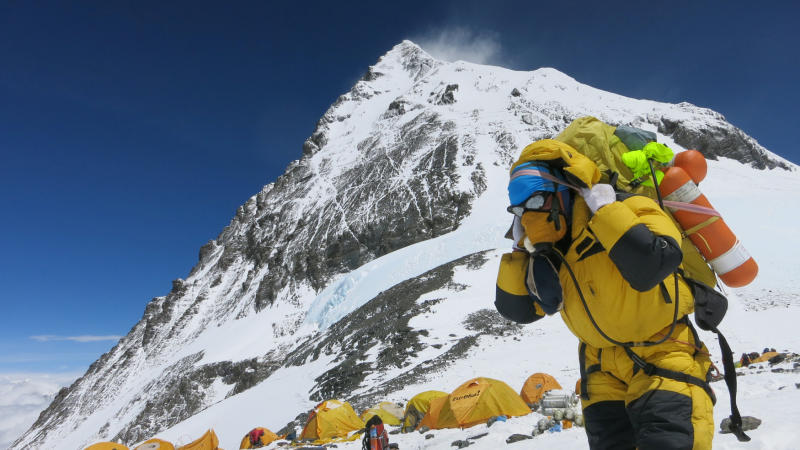 A porter carries goods at camp four at Everest on May 20, 2016. (Reuters file photo)