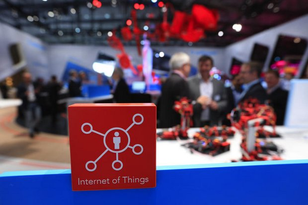 An 'Internet of Things' logo is seen at last month's CeBIT 2017 tech fair in Hannover, Germany. (Bloomberg photo)