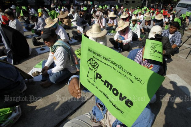 Leaders of the influential P-move, seen here in a 2016 protest, have come out strongly against a new government plan to allow 99-year leases to foreigners. (File photo by Thanarak Khunton)