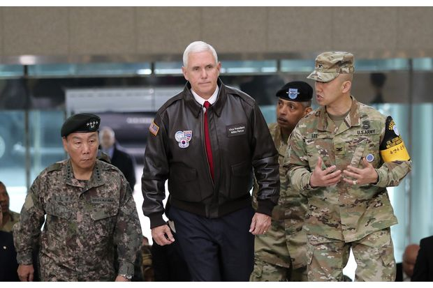 US Vice President Mike Pence arrives at the border village of Panmunjom in the Demilitarised Zone (DMZ) which has separated the two Koreas since the Korean War, South Korea, on Monday. (AP photo)