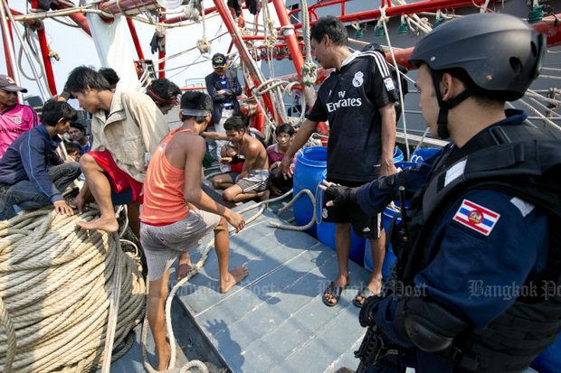 Trawler owners claim that if they refuse to pay monthly bribes, tough inspections of their fishing boats follow. (Bangkok Post file photo)