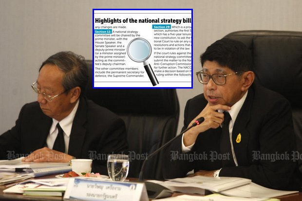 Deputy Prime Minister Wissanu Krea-ngam, seen here at an April 5 meeting discussing the constitution, has assured the National Legislative Assembly the government's 20-year plan can be amended later by an elected government. (File photo by Thanarak Khunton)
