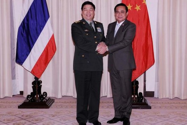 The deal for a Chinese arms factory was sealed in a series of meetings between Chinese Defence Minister Chang Wanquan and top Thai officials including a meeting with Prime Minister Prayut Chan-o-cha (above) in January. (File photo courtesy Government House)