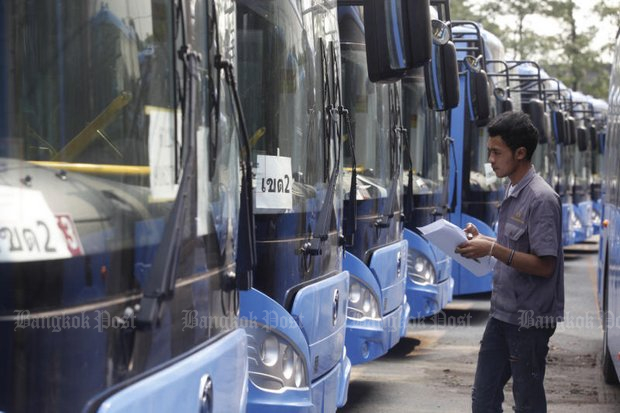 The Bangkok Mass Transit Authority (BMTA) began installing GPS, Wi-Fi and other equipment on imported buses, but then called off the whole deal. (Post Today file photo)
