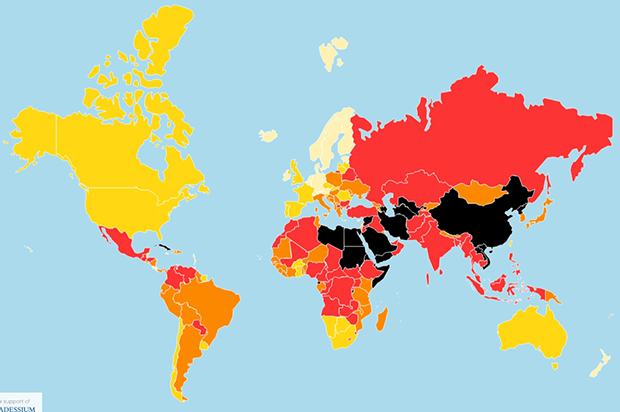 The press freedom map, which is distributed in print and digital versions, offers a visual overview of the situation in each country in the Index. The colour categories are assigned as follows: good (white), fairly good (yellow), problematic (orange), bad (red) and very bad (black).