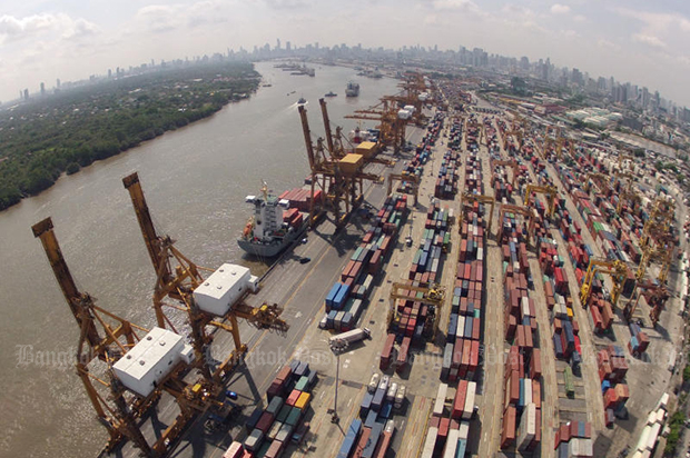 An aerial view of the Klong Toey port. (Bangkok Post file photo)