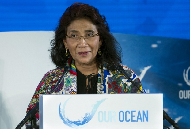 Indonesian Fisheries Minister Susi Pudjiastuti addresses a conference in Washington in September last year. (AP Photo)