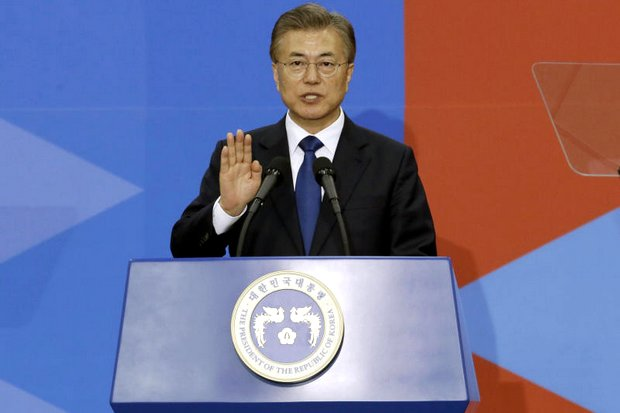 South Korean President Moon Jae In speaks during his inauguration ceremony at the National Assembly in Seoul on May 10. (AP photo)